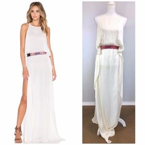 {INDAH} Boho 'Twiga' Ivory Belted Maxi Dress RARE!